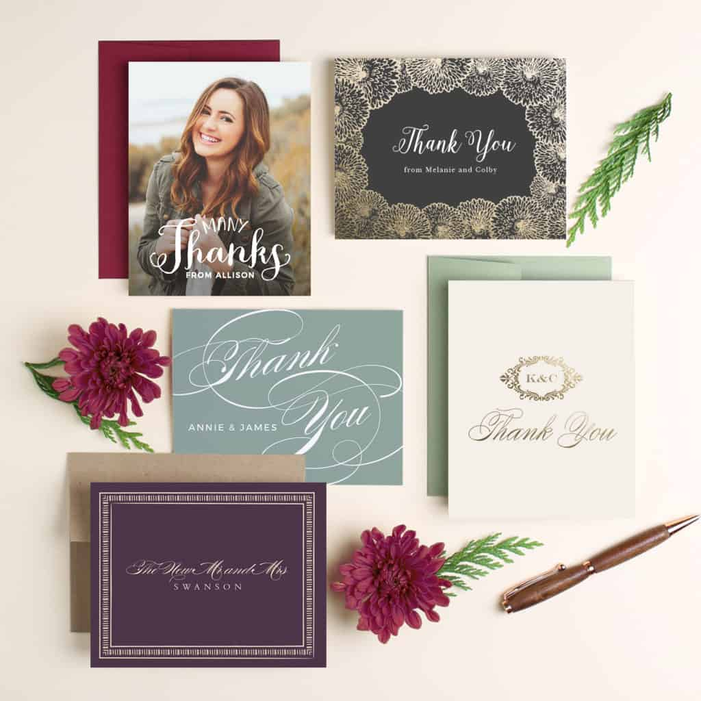 different variety of thank you cards