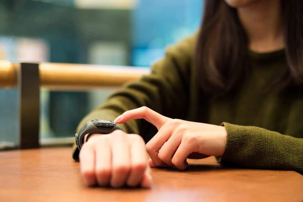 Woman using a smartwatch